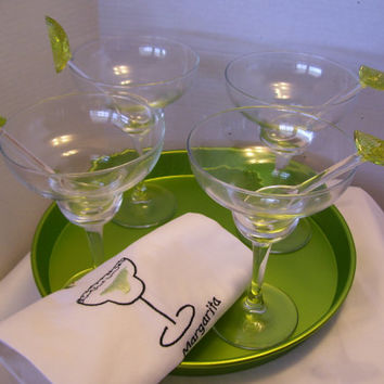 Vintage Margarita Cocktail Set Glasses //  Lime Serving Tray // Lime Stirrers // Embroidered Towels 11 Piece Hostess Set  Entertaining Ready