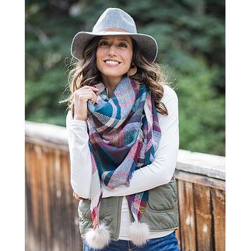 Grace & Lace Plaid Triangle Scarf (Gemstone)