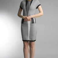 Historic New York Diminuendo Black and White Ottoman Knitted Dress
