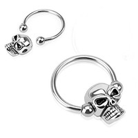 Pair of 14 Gauge 1/2 Inch 4mm Ball Nipple Ring Skull Bead 316l Surgical Steel Captive Bead Ring C260