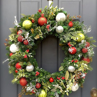 Large Red Green Silver Christmas Wreath Holiday Wreaths Big Evergreen Classic Colors
