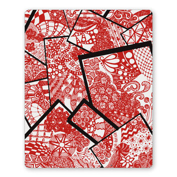 Cute Line Art Doodle Red  Mouse Pad