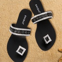 Sandals Black Jeweled Single Strap
