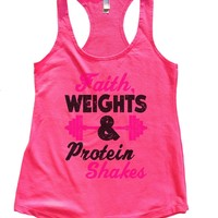 Faith, Weights & Protein Shakes Womens Workout Tank Top