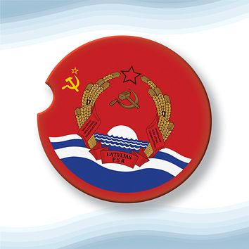 Latvian Soviet Socialist Republic with Coat of Arms Car Cup Holder Coasters Sandstone (Set of 2)