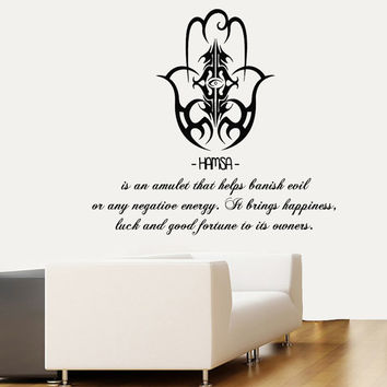 Wall Decals Fatima Hand Hamsa Indian Buddha Amulet Words Floral Design Yoga Gym Home Vinyl Decal Sticker Kids Nursery Baby Room Decor kk402