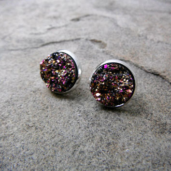 Metallic Purple Druzy Earrings, Purple Druzy Earrings, Purple Crystal Earrings, Faux Druzy Earrings, Gemstone Earrings, Druzy Stud Earrings