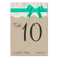 Ivory Lace & Aqua Bow, Burlap Table Numbers