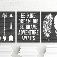 FEATHER ARROW Wall Art, Nursery CANVAS or Print Woodland Quote Decor, Be Kind Be Brave, Dream Big, Adventure Awaits, Rustic Decor, Set of 3