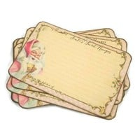 Christmas Recipe Cards - Pink Santa - Cottage Chic - Pack of 12
