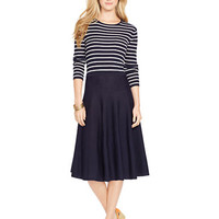 Lauren Ralph Lauren Stripe-Over-Solid Merino Wool Knit Dress