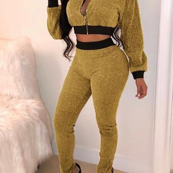 New Golden-Black Patchwork Zipper Bright Wire Sparkly Two Piece Clubwear Long Jumpsuit