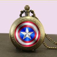 Avengers Superhero Locket necklace,Shield Locket Necklace,Glass Pocket Watch Necklace