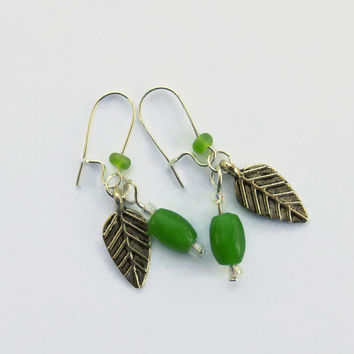 Green Jade With Leaf Earrings , Antique Silver Beads And Charms, Green Jade Beads, Glass Seed Beads, Prosperity Jewelry, Cottage Chic