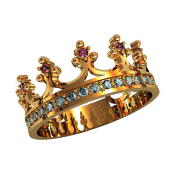 Crown Wedding Band, 14K Yellow Gold, Amethyst/Blue Topaz Wedding Ring, Crown Unique Ring, Wedding Ring,Women's Wedding Band,Her Promise Ring
