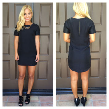 She Likes To Move Faux Leather Detail Dress - BLACK