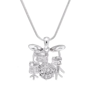3D Drum Necklace Silver Plated Finish