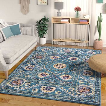 2948 Blue Medallion Bohemian Vintage Area Rugs