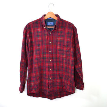 Vintage Pendleton Shirt Flannel Shirt Plaid Shirt Red Flannel Shirt Wool Shirt Pendleton Wool Shirt Pendleton shirts Size Medium