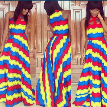 Multicolor Striped Sleeveless Cut Out Halter Neck Maxi Dress