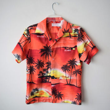 "Aloha Sunset Mens Hawaiian Shirt in Red, Yellow, Orange, Black // Polyester Button Up Tropical Shirt by ""Gay Garment"" Honolulu // Sz Small"