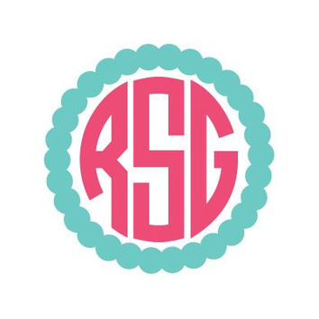3in Scallop Monogram 2-Color Sticker Decal