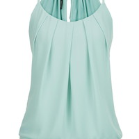 knit tank with pleated chiffon front