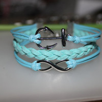Anchor bracelet- teal&yellow infinity anchor  bracelet wishes gift for girlfriend/friends/girls BBF