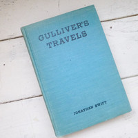 Gulliver's Travels by Johnathan Swift, Vintage book, personal library, classic literature, travels to lilliput, children's story book