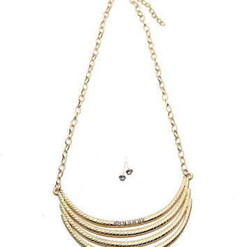 Pave Bar Pendant Necklace and Earrings