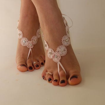 FREE SHİPP Beach Wedding Barefoot Sandals, Pink Lace Beach Shoes, Wedding Sandals,Bridal Anklet,Bridal Lace Shoes