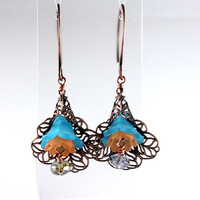 Turquoise Lucite Lily Earrings, Filigree Antique Copper, Vintage Style, Romantic Floral