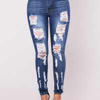 Nanette High Rise Jeans - Medium Blue