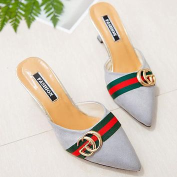 GUCCI Trending Women Stylish Suede Metal Pointed High Heels Sandals Blue