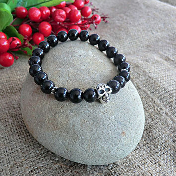 Mens Bracelet Skull Bracelet Men Jewelery Tiger Eye Bracelet Stone Bracelet Mens gift Bracelet for men