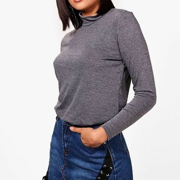 Emily Roll Neck Slouchy Top | Boohoo
