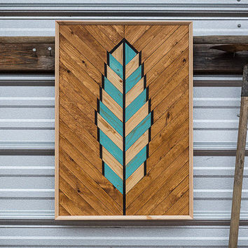 Blue Feather Reclaimed Boho Wood Wall Art, Barn Wood Decor, Wood Wall Lath Decor, Boho Wood Decor, Farmhouse Decor, Reclaimed Wood
