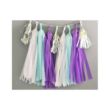 Paper Garland & Metallic Mini Tassels - 20 Tassel DIY Kit - White, Blue, Dark Purple, Silver Foil - Wedding Decor Party Bridal Shower