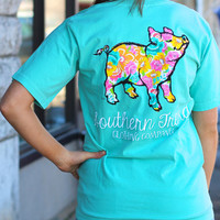 Floral Proud Pig Tee by SOUTHERN TREND {Chalky Mint}