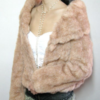 Christmas Vintage Pink Wedding fur coat