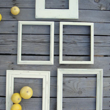 Off White Shabby Frame Set- Frame Collage - Chalk Paint - Set of 5 - Distressed - Minimalist Mod - Up Cycled Beach House Cottage Chic Decor