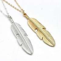 Feather Pendant Long Necklace