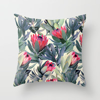 Painted Protea Pattern Throw Pillow by Micklyn