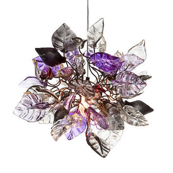 Ceiling chandelier. Purple and crystal clear flowers and leaves.