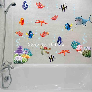 3d movie sticker finding nemo wall decals nursery removable mural art cartoon stickers bathroom diy colorful sea fish