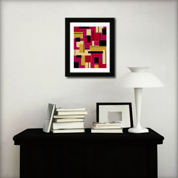 Abstract art print for home decor. Colorful geometric print from original abstract painting.