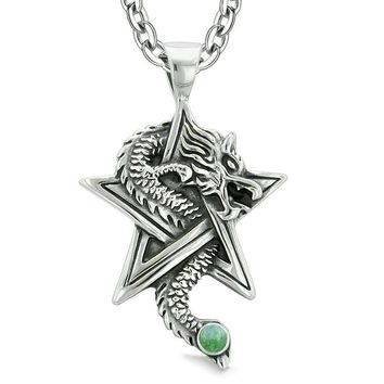Courage Dragon Magical Protection Powers Star Pentacle Amulet Green Quartz Pendant 18 Inch Necklace