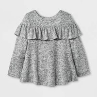 Toddler Girls' Ruffle Cozy Pullover - Cat & Jack™ Gray
