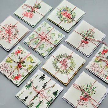 DoreenBeads Christmas Paper Card With Envelope Forest Tree Student Lover Family Children Gift Blessing Card At Random 8PCs/Pack