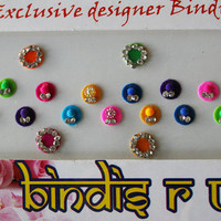 25 Self Adhesive Round Bindi Indian Face Crystal Dots Bollywood Body Art Wedding & Bridal